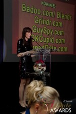Julie Spira announcing the winner of Best Mobile Dating App at the 2013 iDateAwards Ceremony in Las Vegas held in Las Vegas
